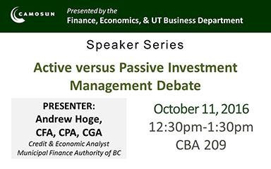 Speaker Series presented by the Finance, Economics & UT Business Department