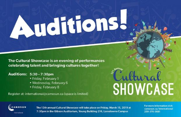 Call for Auditions: 2019 Cultural Showcase