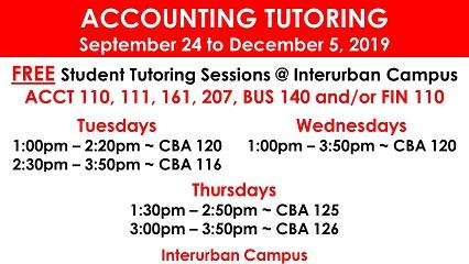ACCT & FIN Tutoring -  Fall 2019