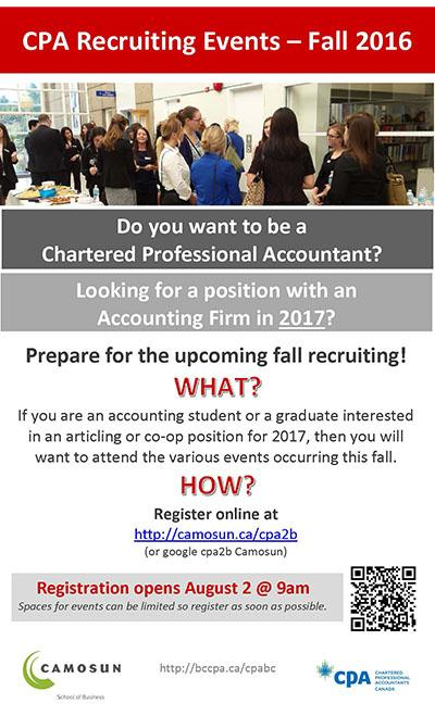 CPA Recruiting Events – Fall 2016