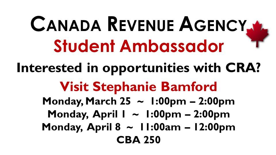Interested in opportunities with CRA?