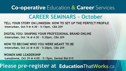 CAREER SEMINARS -Co-operative Education & Career Services Department