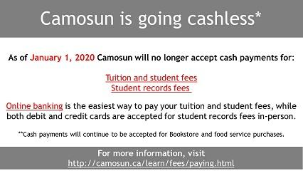 Camosun is going cashless*