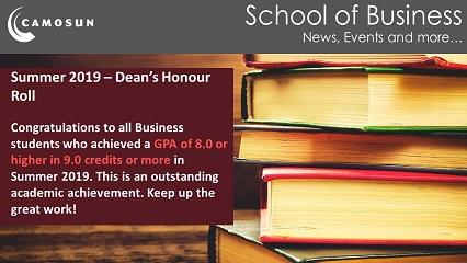 Summer 2019 - Dean's Honour Roll