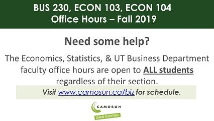 ECON 103, 104 & BUS 230 Tutoring - Fall 2019