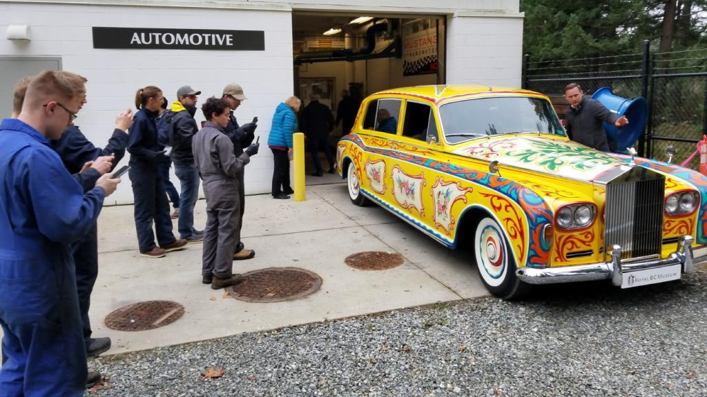 A Day in the Life: John Lennon's iconic yellow Rolls Royce visits Camosun's automotive shop