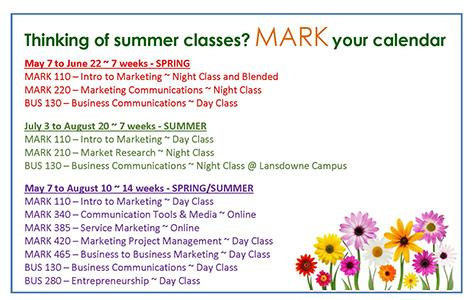 Thinking of summer classes?  MARK your calendar