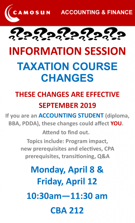 INFORMATION SESSION - TAXATION COURSE CHANGES