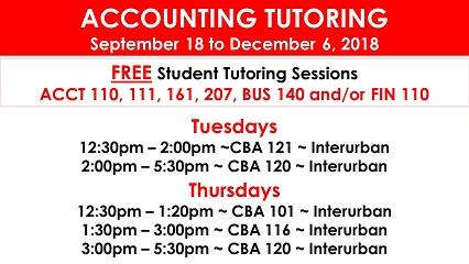 Accounting Tutoring Fall 2018