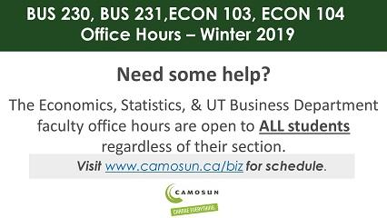 Economics 103, 104 & Business 230, 231 Tutoring Winter 2019