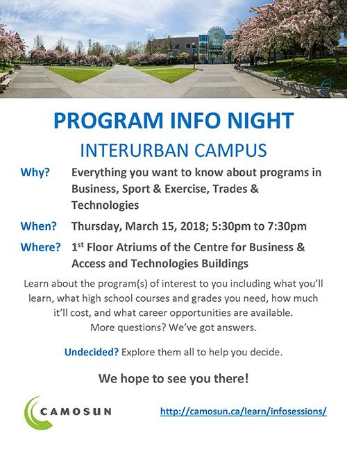 Program Info Night - Business, Sport & Exercise, Trades & Technologies
