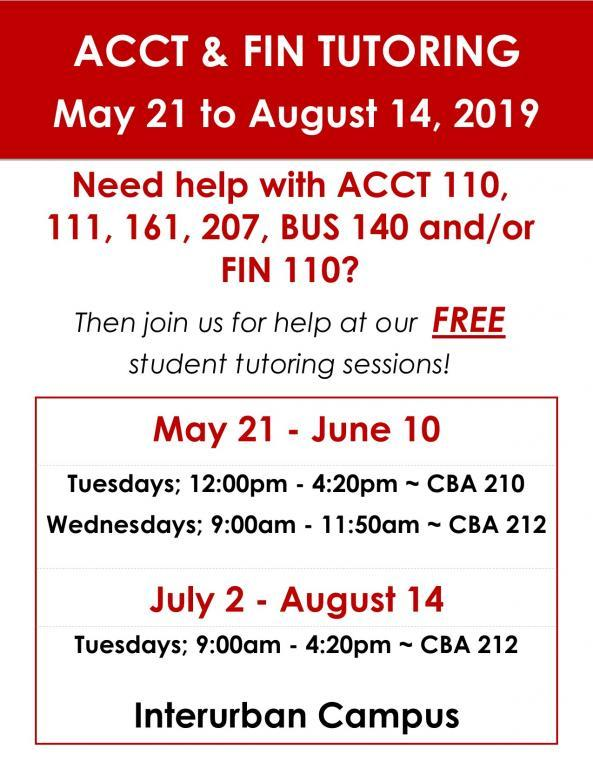ACCT & FIN Tutoring - Summer 2019